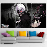 Tokyo Ghoul Ken Kaneki Cool Stylish Black 3pcs Wall Art Decor