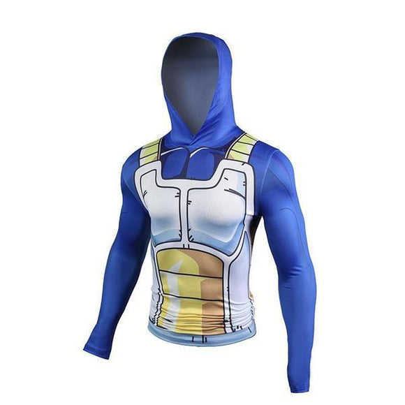 Vegeta Saiyan Battle Armor Compression Hooded Long Sleeves Shirt