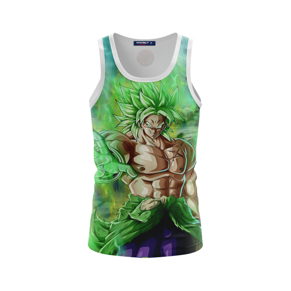 Muscular Shirtless Super Saiyan Broly Green Tank Top
