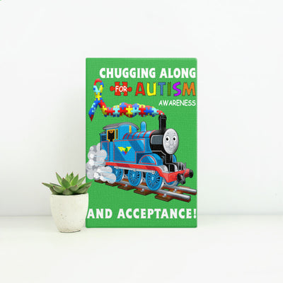 Thomas The Train Autism Awareness T-shirts - Portrait Canvas. Small
