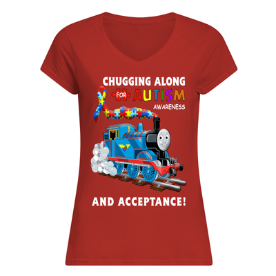 Thomas The Train Autism Awareness T-shirts - Women's V-Neck T-Shirt