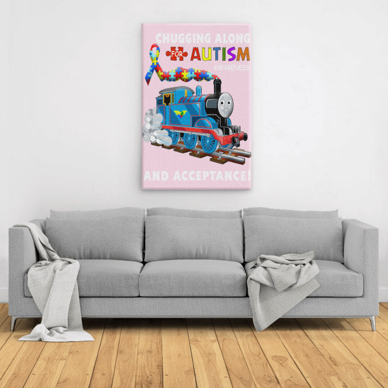 Thomas The Train Autism Awareness T-shirts - Portrait Canvas. Large