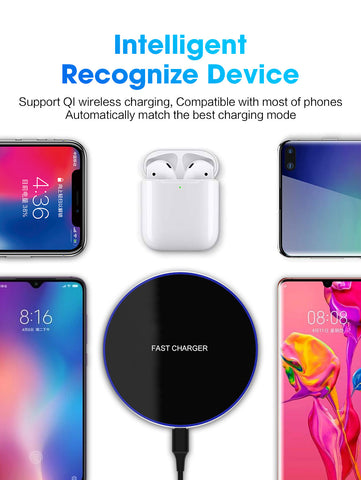 Image of 15W Quick Wireless Charger Dock For iPhone X XR XS 8 Plus Qi Type C Fast Charging Pad For Samsung S9 S8 Note 9 8 Xiaom Mix 2s 3