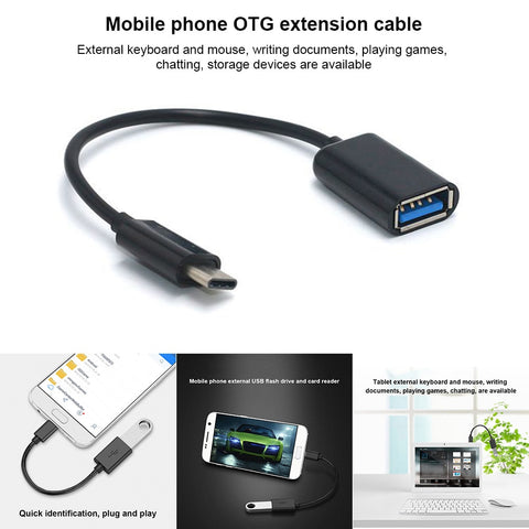 Image of 16CM  Type C OTG Adapter Cable USB 3.1 Type C Male To USB 3.0 A Female OTG Data Cord Adapter NK Shopping