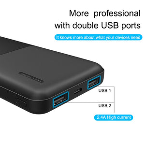A.S 10000mAh Power Bank For Xiaomi Samsung iPhone Huawei Nokia Powerbank Portable Dual USB Charging External Battery Pack Bank