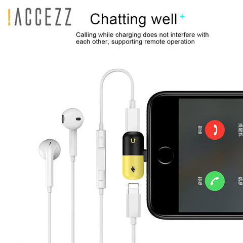 Image of !ACCEZZ For Apple Audio Charging Listening Calling Connector For iphone X 8 7 Plus XS XR Lighting Headphone Adapter AUX Splitter