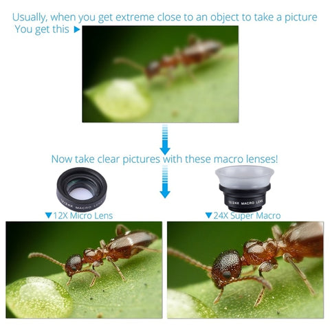 Image of APEXEL Professional Mobile Phone Camera Lens lentes 12X/24X Macro lens  Super Macro for iPhone 6 7 android ios smartphone 24XM