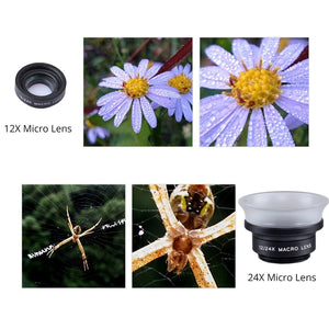 APEXEL Professional Mobile Phone Camera Lens lentes 12X/24X Macro lens  Super Macro for iPhone 6 7 android ios smartphone 24XM