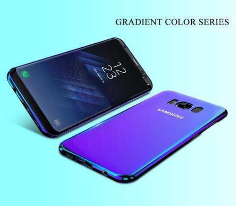 Image of Aurora Blue Ray Phone Case For Samsung Galaxy S9 S9 Plus Ultra Thin Cover For Samsung S8 S7 Edge Note 8 9 Cases Capa Shell Cove