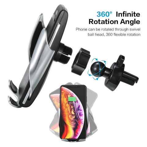 Image of Automatic Clamping 10W Wireless Car Charger S5 Fast Charging Phone Holder Mount in Car for iPhone xr Huawei Samsung OnePlus