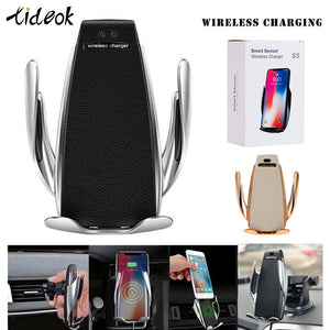 Automatic Clamping 10W Wireless Car Charger S5 Fast Charging Phone Holder Mount in Car for iPhone xr Huawei Samsung OnePlus