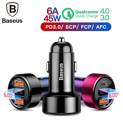 Baseus Dual Usb Car Charger QC 3.0 Quick Charger Metal Car Charging Mobile Phone Charger for iphone Samsung Huawei Car Charging