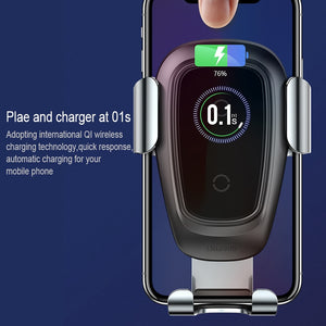 Baseus car phone holder 10w wireless charger for iPhone X Samsung S10 S9 S8 fast charging phone stand charger holder in car