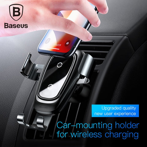 Image of Baseus car phone holder 10w wireless charger for iPhone X Samsung S10 S9 S8 fast charging phone stand charger holder in car