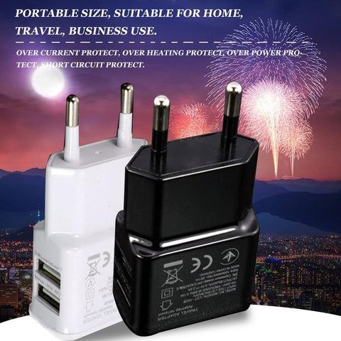 Image of Dual USB Charger 2a Fast Charging Travel EU Plug Adapter portable Wall charger Mobile Phone cable For iphone Samsung xiaomi