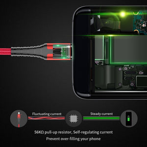 Essager LED USB Type C Cable 3m Fast Charge Wire Cord USBC Cable for Xiaomi K20 Samsung Oneplus 7 Pro Mobile Phone USB C Charger