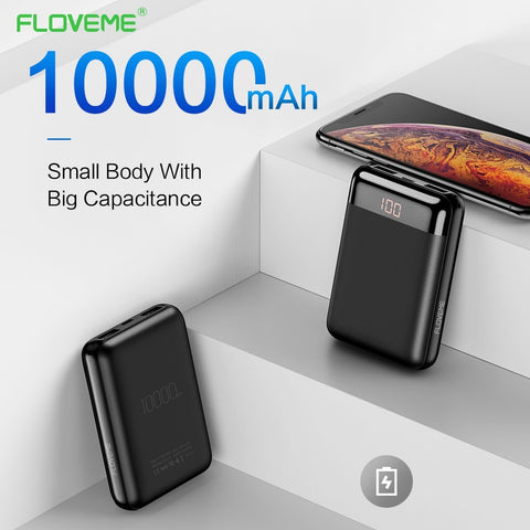 Image of FLOVEME Mini 10000mAh Power Bank For iPhone Samsung Mobile Phone Charger Dual External Battery Pack Portable Charger Powerbank