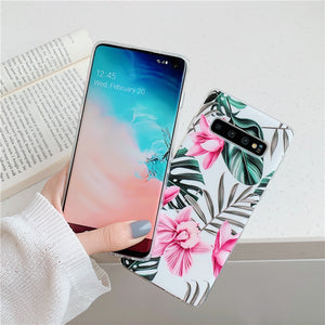 FLYKYLIN Art Leaf Flower Case For Samsung Galaxy S8 S9 S10 Plus S10e Back Cover on IMD Silicone Phone Coque with Holder Stand