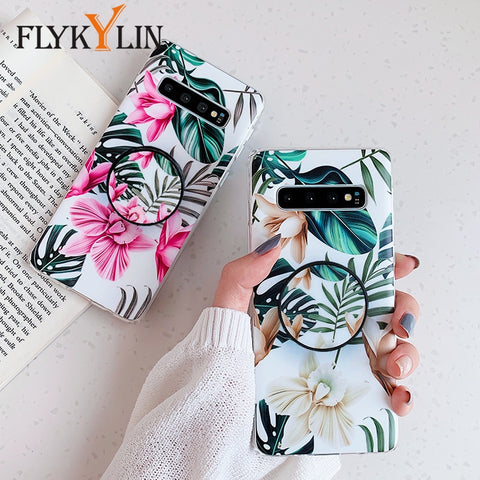 Image of FLYKYLIN Art Leaf Flower Case For Samsung Galaxy S8 S9 S10 Plus S10e Back Cover on IMD Silicone Phone Coque with Holder Stand