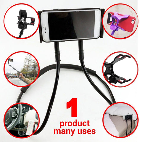 Image of Flexible Mobile Phone Holder Hanging Neck Lazy Necklace Bracket Bed 360 Degree Phones Holder Stand For iPhone Xiaomi Huawei