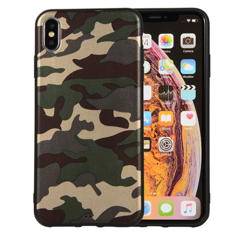 Image of For iPhone XS Army Green Camouflage Soft TPU Silicone Case for iPhone X XR XS Max i5 5S SE i6 i6S i7 i8 Plus Capa Case