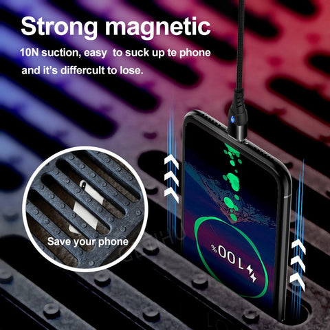 Image of GETIHU 2m Magnetic Cable Fast 3A For iPhone XS Samsung Charger Quick Charge 3.0 Micro USB Type C Magnet Phone Charging Data Cord