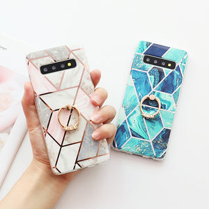 LOVECOM Artistic Geometric Marble Texture Phone Cases For Samsung Galaxy A50 A40 A70 S10 Plus S10e Electroplated Soft Back Cover