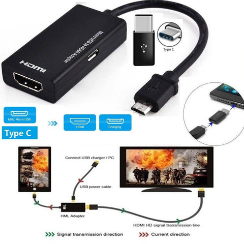 Image of New TV Stick Type C & Micro USB to HDMI Adapter Digital Video Audio Converter Cable HDMI Connector for Samsung PC Laptop r25