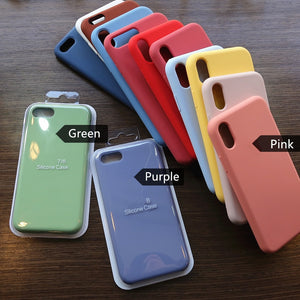 Official Liquid Silicone Phone Case for iphone X XS MAX XR 7 8 6 6S Plus Soft Gel Rubber Shockproof Cover Full Protective Case