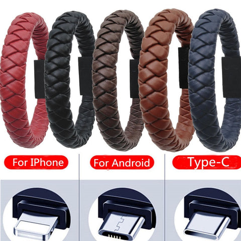 Image of Outdoor Portable Leather Mini Type C/8Pin/Micro USB Bracelet Charger Data Charging Cable Sync Cord For Iphone X 8 Samsung S9 S8
