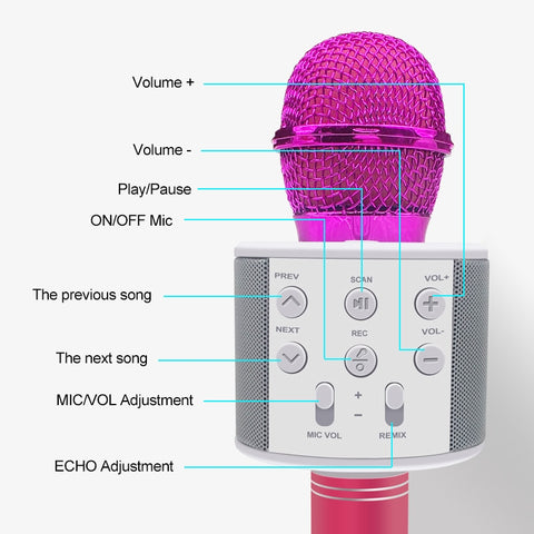 Professional Wireless Microphone Speaker Handheld Bluetooth Microphone with Battery Karaoke Mic Music Player Singing Recorder