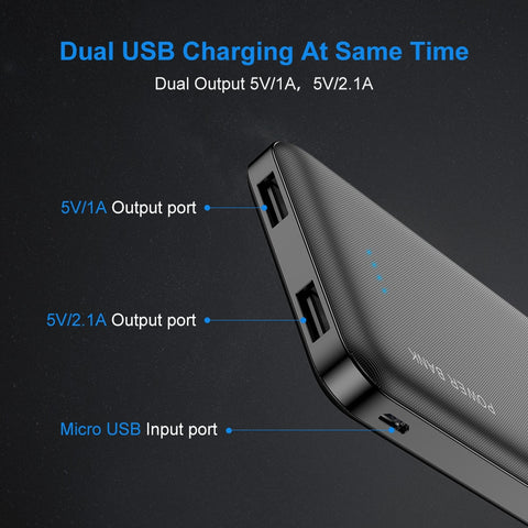 Image of RAXFLY 10000mAh Power Bank For All Mobile Phone Dual USB Portable Charging External Battery Pack Ultra Thin Charger Powerbank