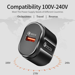 ROCK Quick Charge QC3.0 USB US EU Charger Universal mobile phone charger Wall USB Charger Adapter for iPhone Samsung Xiaomi