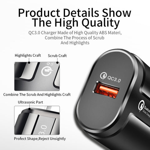 Image of ROCK Quick Charge QC3.0 USB US EU Charger Universal mobile phone charger Wall USB Charger Adapter for iPhone Samsung Xiaomi