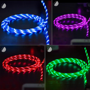 Robotsky 3A LED Light USB Type C usb c Fast Charging Data Cable Charger USB Cable For XiaoMi Huawei Samsung S9 S8 Smart Phone