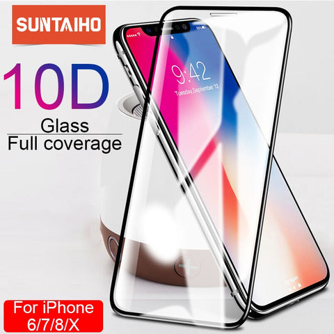 Image of Suntaiho 10D protective glass for iPhone X XS 6 6S 7 8 plus glass screen protector for iPhone 7 6 X XR XS MAX screen protection