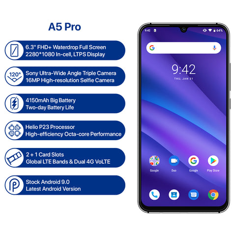 Image of UMIDIGI A5 PRO Android 9.0 Octa Core Mobile Phone 6.3' FHD+ 16MP Triple Camera 4150mAh 4GB RAM 32G ROM Smartphone gsm unlocked
