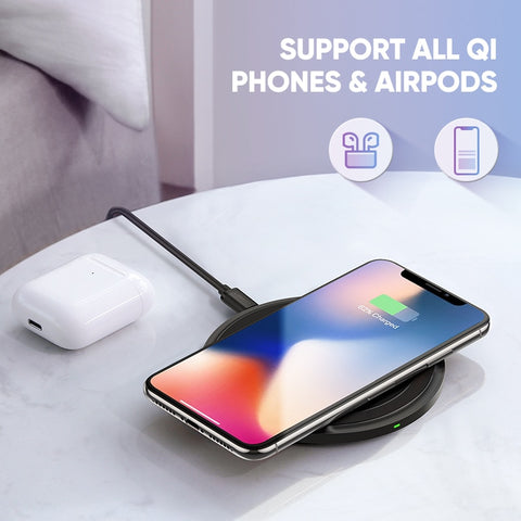 Image of Ugreen Wireless Charger for iPhone X Xs 8 Plus 10W Qi Fast Wireless Charging Pad for Samsung S10 Note 9 AirPods Xiaomi Charger