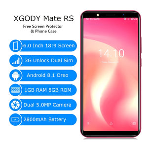 XGODY Mate RS 3G Dual Sim Smartphone 6 Inch 18:9 Smart Android 8.1 Celular Quad Core 1GB+8GB 2800mAh 5MP Camera Mobile Phone GPS