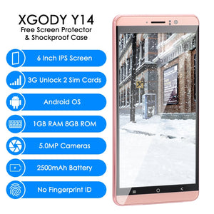 XGODY Y14 6 inch 3G Smartphone MTK6580 Quad Core 1GB RAM 8GB ROM Android 5.1 Mobile Cell Phone Unlock Dual SIM 6.0 Inch WiFi GPS