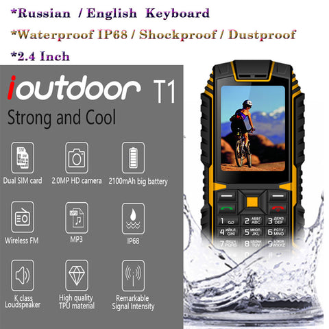 Image of XGODY ioutdoor T1 2G Feature Phone IP68 Shockproof cep telefonu 2.4''128M+32M GSM 2MP Back Camera FM Telefon Celular 2G 2100mAh