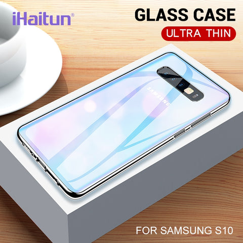 Image of iHaitun Luxury Glass Case For Samsung S10 Plus S10e Cases Ultra Thin Transparent Back Cover For Samsung Galaxy S10 + Soft Edge