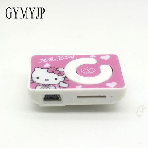 new mini clip hello Kitty MP3 player support TF card with USB Cable Earphone Crystal  Box Free shipping Retail and wholesale