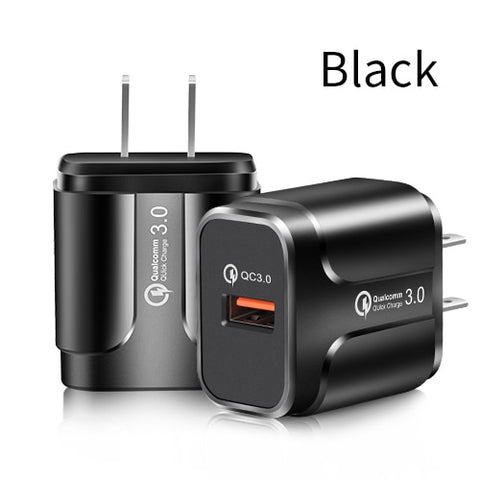 YKZ Quick Charge 3.0 18W Qualcomm QC 3.0 4.0 Fast charger USB portable Charging  Mobile Phone Charger For iPhone Samsung Xiaomi