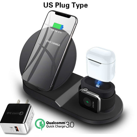 Image of Wireless Charger Stand for iPhone AirPods Apple Watch, Charge Dock Station Charger for Apple Watch Series 4/3/2/1 iPhone X 8 XS