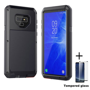 Tempered glass+Full Protective Luxury Doom Armor Metal Case Shockproof Cover For Samsung S7 S8 S10 S10Plus S9 S9Plus Note8 Note9