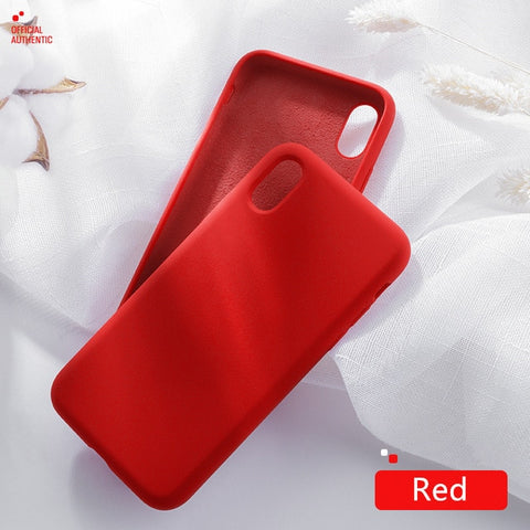 Image of Official Liquid Silicone Phone Case for iphone X XS MAX XR 7 8 6 6S Plus Soft Gel Rubber Shockproof Cover Full Protective Case