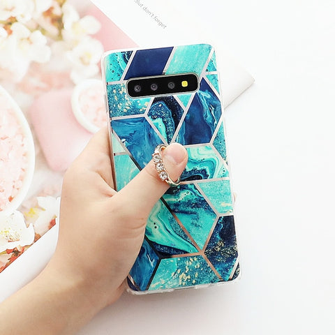 Image of LOVECOM Artistic Geometric Marble Texture Phone Cases For Samsung Galaxy A50 A40 A70 S10 Plus S10e Electroplated Soft Back Cover