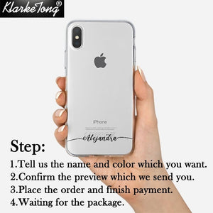 Personalized Custom Name Phone Case For iPhone 5 5S 6 6S 7 8Plus Xs MAX XR Soft Clear TPU Cover Capa Fundas