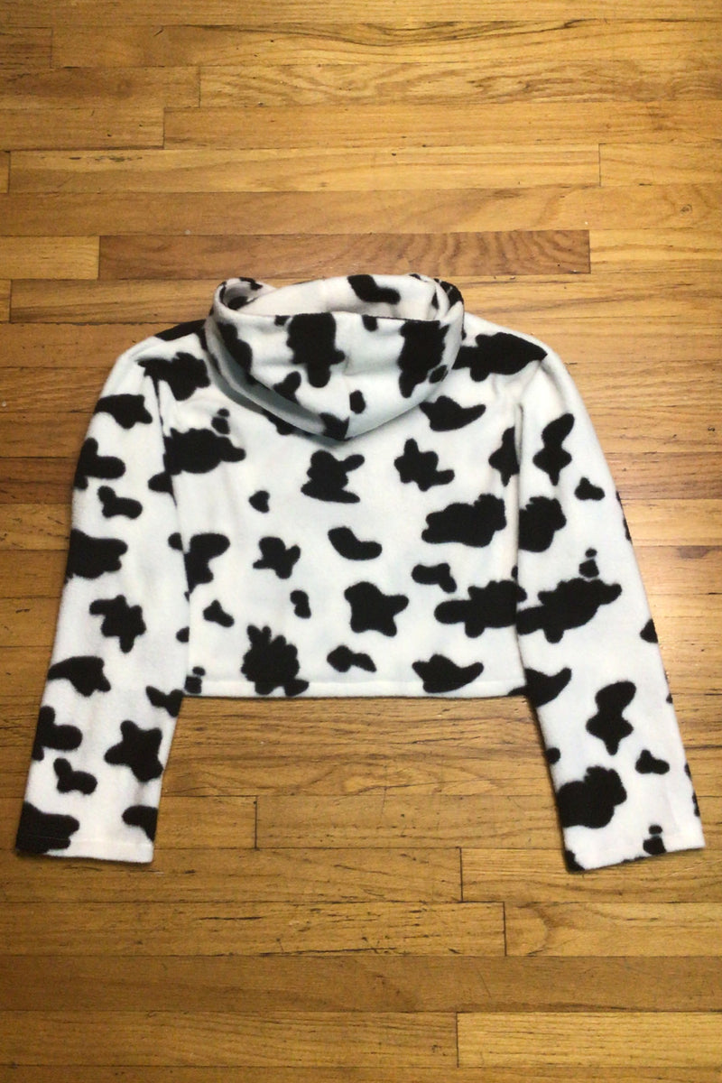 Hoodie - Fleece with Cow Print
